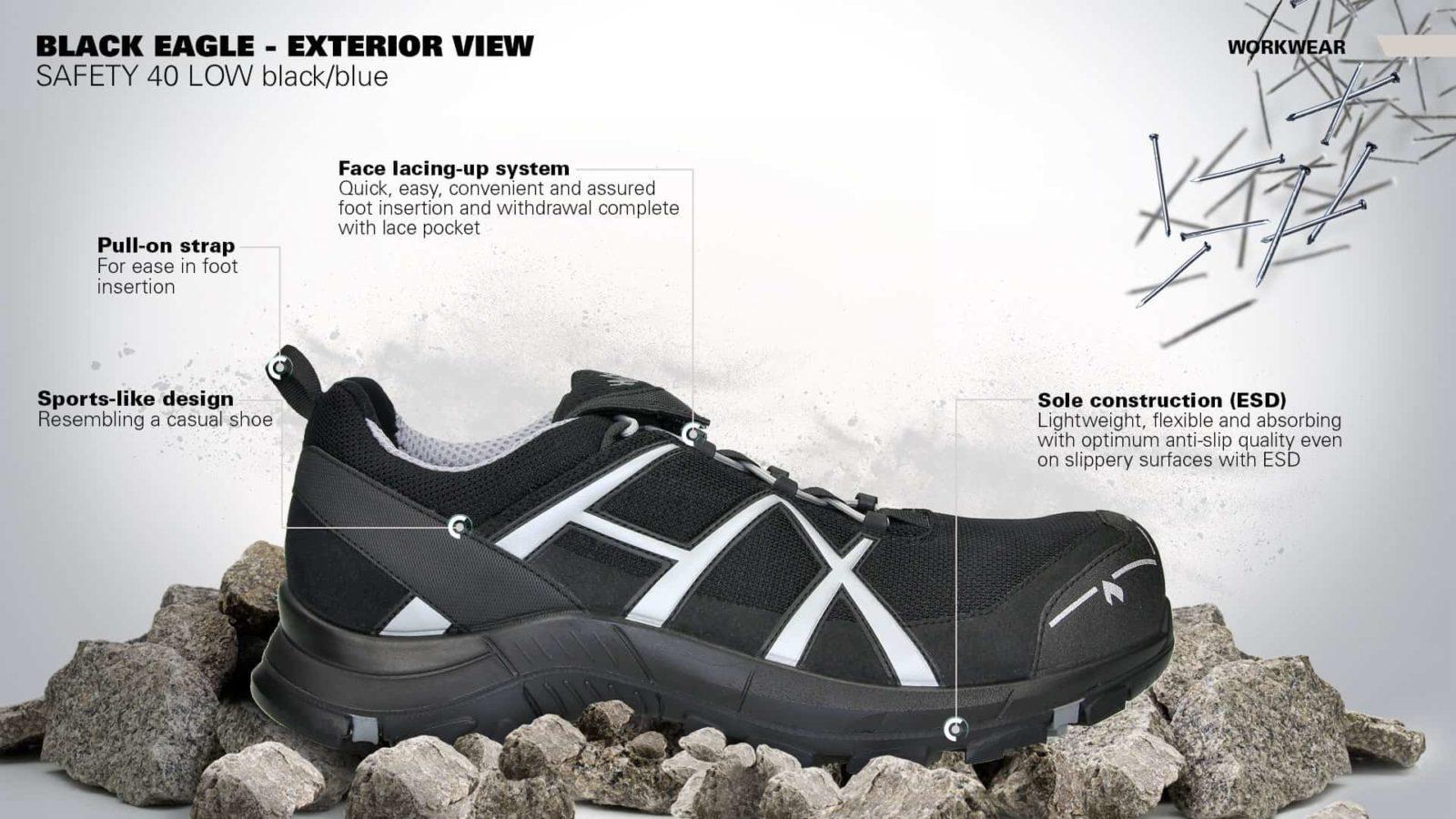 HAIX Black Eagle Safety 41 low black silver - Buty Haix - Sklep krismark 6e338fda19